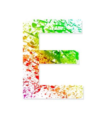 Muziek thema grungy lettertype Letter E