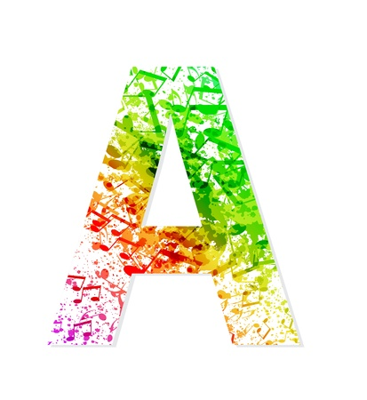 Muziek thema grungy lettertype Letter A Stock Illustratie