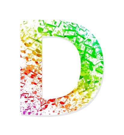 fonts music: Music theme grungy font  Letter D Illustration