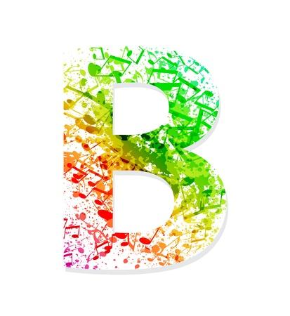 sheet music: Music theme grungy font  Letter B