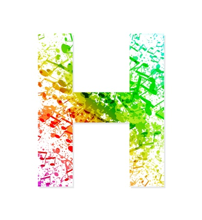 Music theme grungy font  Letter H Illustration