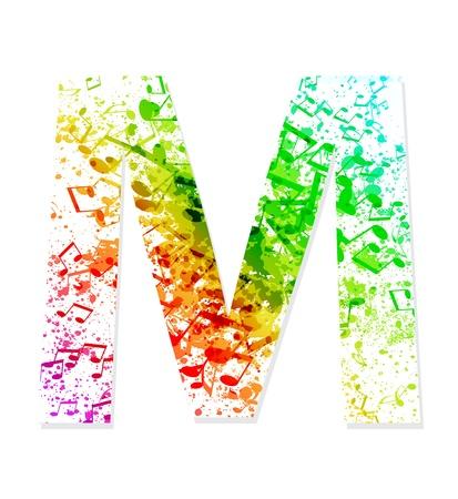 Music theme grungy font  Letter M