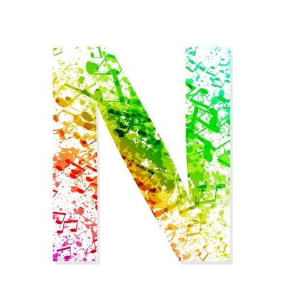 Muziek thema grungy lettertype Letter N
