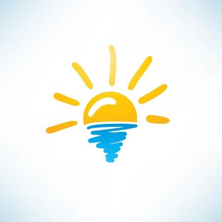 태양과 바다 아이콘 일러스트