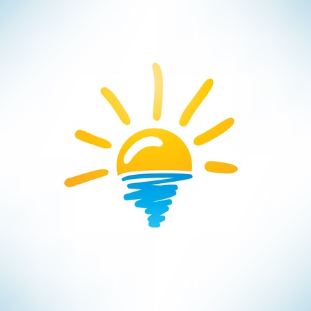 climate morning: Sun and Sea Icon Illustration