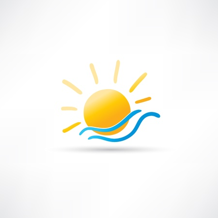 Sun and Sea Icon Illustration
