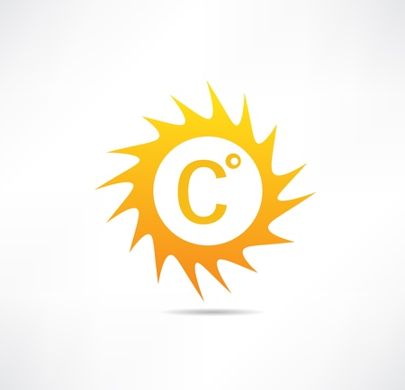 Sun and Celsius mark icon Иллюстрация