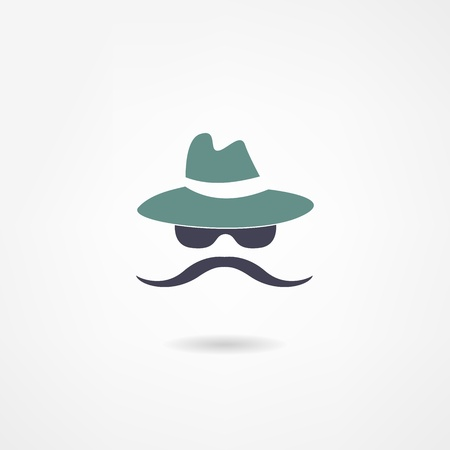 hair mask: moustache icon Illustration