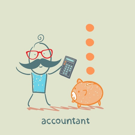 advisor: accountant with a calculator counting money falling into a pig-coin box
