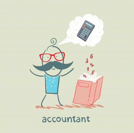 advisor: accountant with a book about thinking about numbers calculator