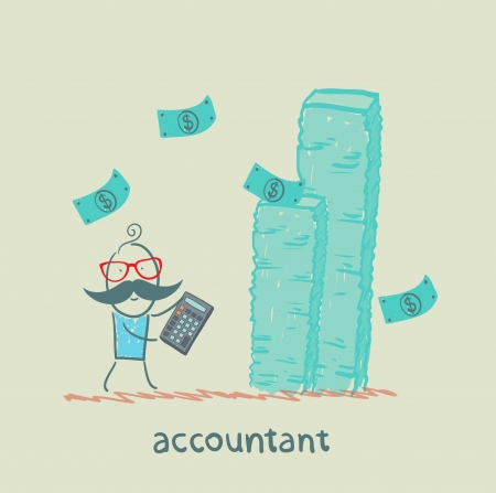 advisor: accountant with a calculator considers a lot of money Illustration