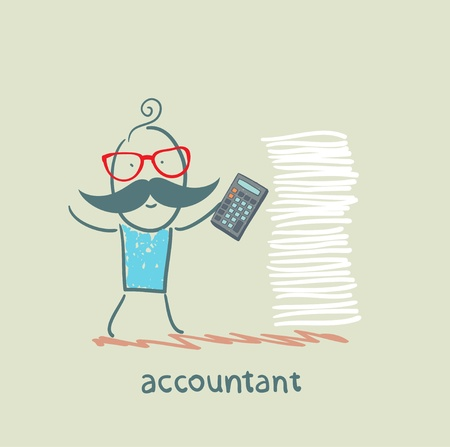 accountant with a calculator and a stack of documents Vector