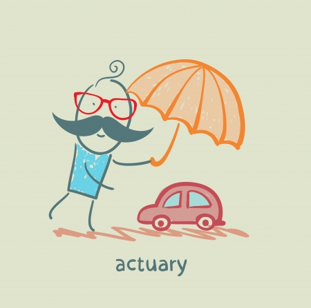 actuary: actuary holding an umbrella over the machine