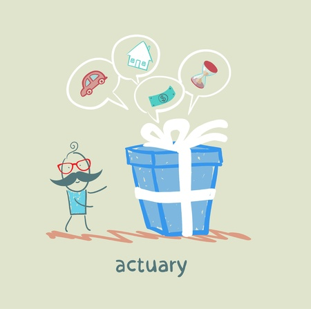 money time: actuary with a gift in which the cars, houses, money, time