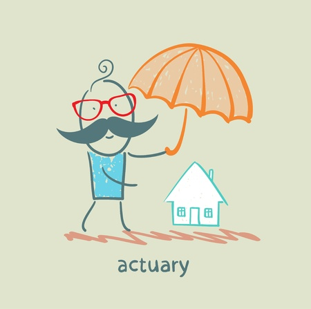 actuary: actuary holding an umbrella over the house