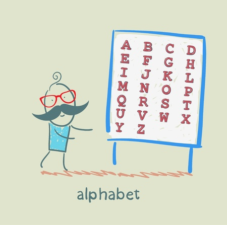 a man stands with alphabet Vector