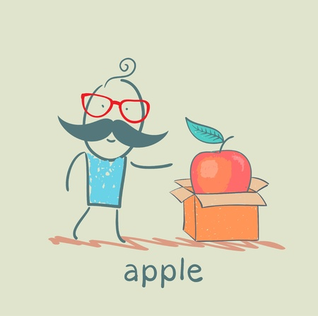 someone: man opens a box with an apple