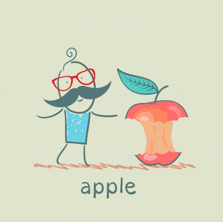 eats: man eats the big apple Illustration