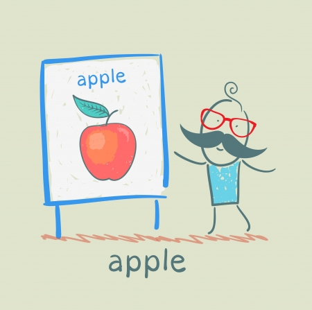 man shows a presentation of the apple