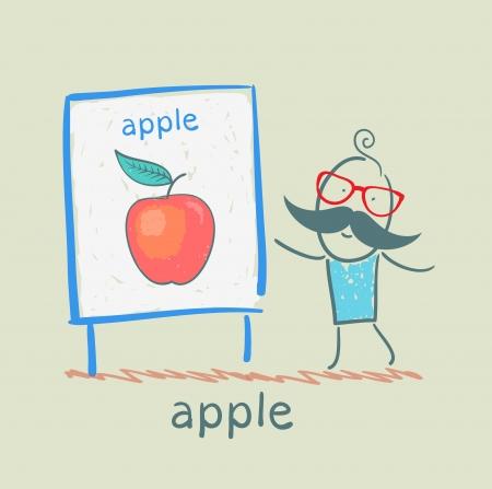 man toont een presentatie van de appel Stock Illustratie
