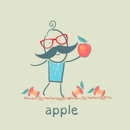 man holding an apple lying around and eats apples