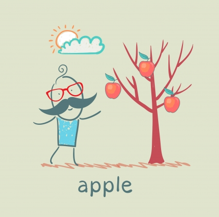 a man stands with a tree on which apples Vector