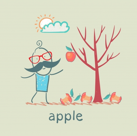a man stands with a tree on which one apple Vector