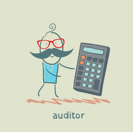 entrepeneur: auditor with a calculator Illustration