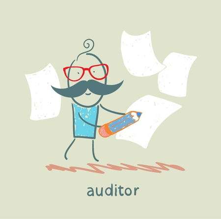 Auditor writes on a piece of paper Vector
