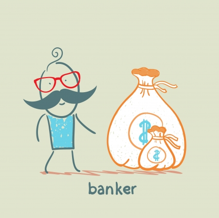 banker with a sack of money Ilustração