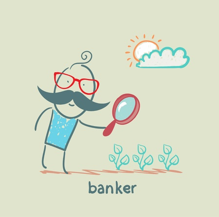 banker is looking through a magnifying glass on plants Ilustração