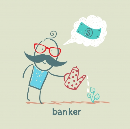 financial advisors: banker plant watering and thinks about the dollar