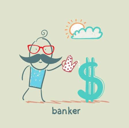 financial advisors: banker watering Dollar