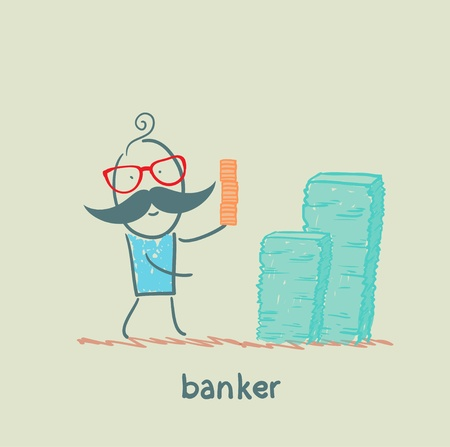 banker and a lot of money Vector