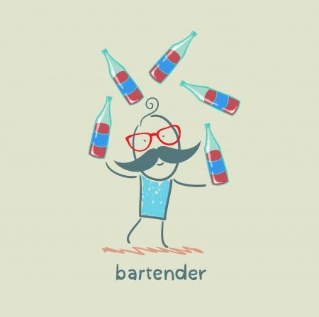 bartender: barman bouteilles de jonglerie de vin Illustration