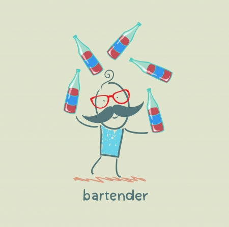 bartender juggling bottles of wine Stock Illustratie