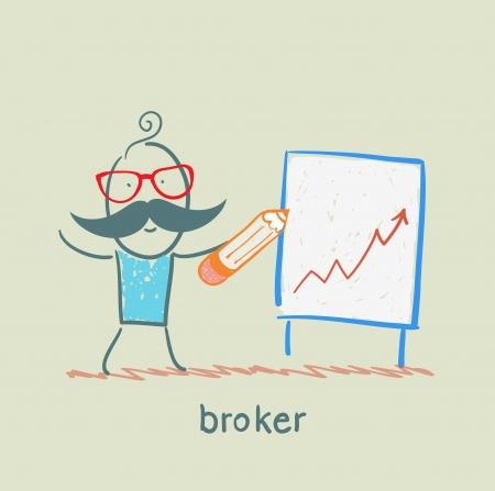 broker draws a graph Illustration