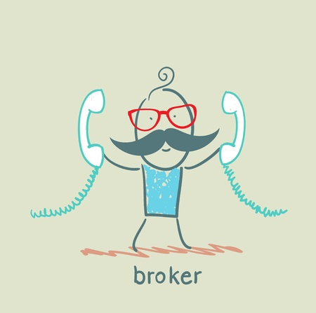 broker with two handsets