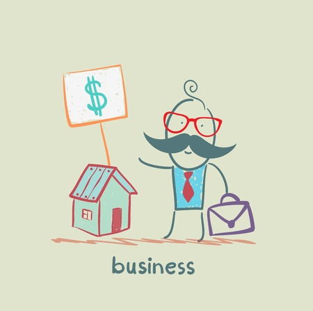 sell house: business man to sell house Illustration