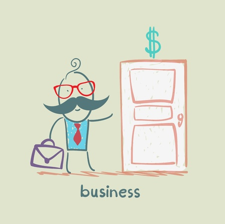 businessman walks into a door painted with a dollar Vector