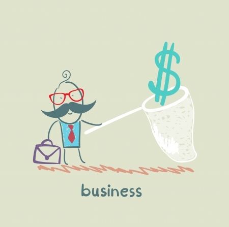 businessman catching a butterfly net dollar Vector