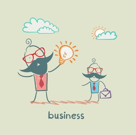 businessman showing idea of ??a subordinate Vector