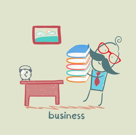businessman goes to his workplace with a stack of books Vector