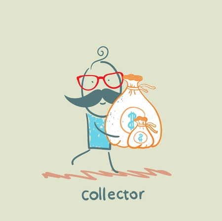 collector is running with a bag of money Illustration