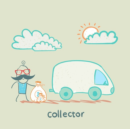 collector: collector is money in the car Illustration