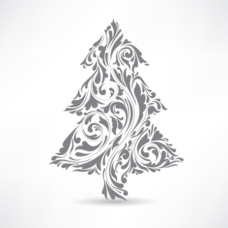 Christmas tree. Floral motif. Design element. Vector