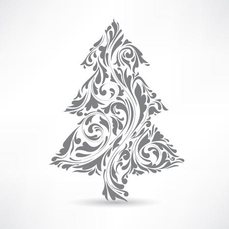 christmas motif: Christmas tree. Floral motif. Design element. Illustration