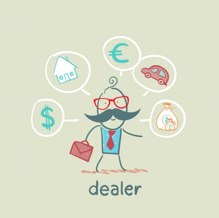 art work: dealer thinks about currencies, house, car, money Illustration