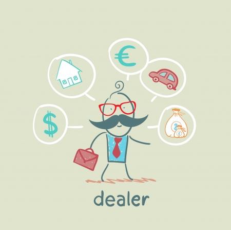 Revendedor pensa em moedas, casa, carro, dinheiro Foto de archivo - 21736355