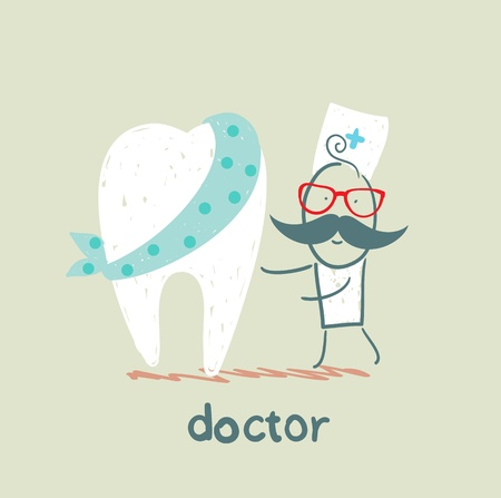 physician and patient tooth Vector